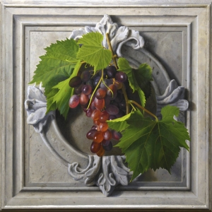 Cartiglio, oil painting of an architectural ornament with grape vine